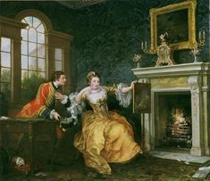 The Lady's Last Stake by William Hogarth, Oil Painting. The painting depicts a playing man and a woman playing piquet at a table near an open fire in an elegant room. William Hogarth, Oil On Canvas, Canvas Art, Georgette Heyer, Free Art Prints, Great Paintings, Oil Painting Reproductions, Museum Of Fine Arts, Graphic Art