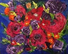 """Winter Roses by Sara Miller Acrylic ~ 16"""" x 20"""