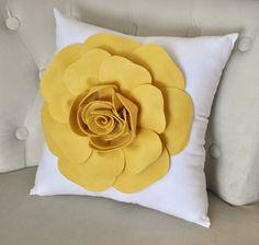 Yellow Pillow - Mellow Yellow Rose on White Pillow. $26.00, via Etsy.