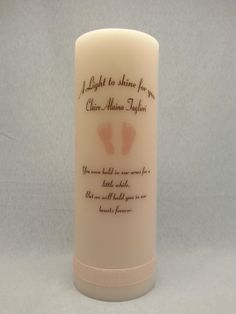 Baby Footprint Memorial 8 Candle by IThinkICanDesigns on Etsy, $17.00