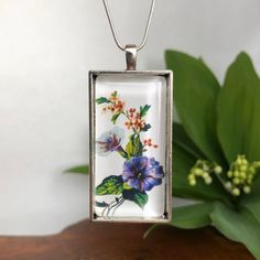 Botanical necklace | Etsy Morning Glory Flowers, Botanical Illustration, Necklace Lengths, Pendants, Pendant Necklace, Chain, Trending Outfits, Unique Jewelry, Handmade Gifts