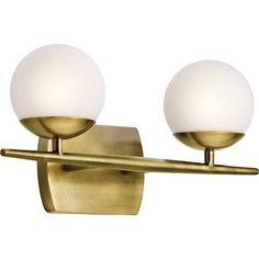 Kichler 45581 Jasper 2 Light Bathroom Vanity Light Natural Brass Indoor Lighting Bathroom Fixtures Vanity Light