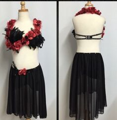 Custum dance costume with black feathers, red flowers and Swarovski crystals
