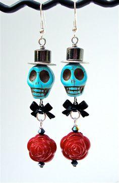 Long skull earrings sugar skull and rose by sparklecityjewelry