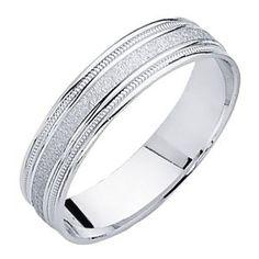 Amazon.com: 14K White Gold Satin Milgrain Wedding Band Ring for Men & Women: The World Jewelry Center: Jewelry