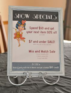 Marketing ideas at an event. Vendor show display - print the prices and specials and prop it up in a frame and pretty holder