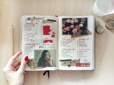 Here's a red spread with some weird flower doodles, French lyrics, and my nails that match it (which was unintentional, but pretty awesome :D)