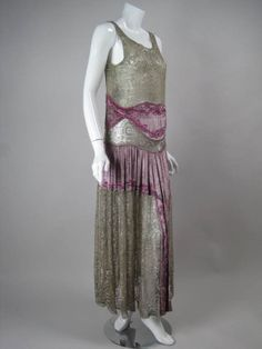 1920's Beaded Velvet & Metallic Lace Dress | From a collection of rare vintage evening dresses at http://www.1stdibs.com/fashion/clothing/evening-dresses/