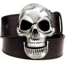 Large Skull Skeleton Head Metal Belt Buckle Vintage Western Hinged Jaw