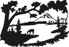 Lake Scene Silhouette by Cynthia Ferguson Silhouette Painting, Silhouette Clip Art, Tree Silhouette, Landscape Silhouette, Wood Burning Patterns, Wood Burning Art, Silouette Art, Licht Box, Wall Stencil Patterns