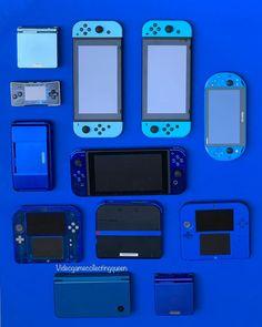 for the color blue ? Nintendo Ds, Nintendo Games, Arcade Games, Nintendo Consoles, Nintendo Switch Accessories, Color Plan, Gamers Anime, Retro Videos, Gamer Room