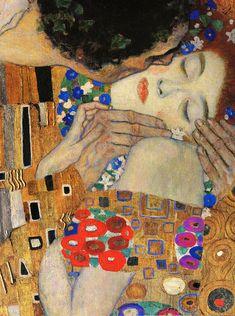 Gustav Klimt, The Kiss (detail), 1907-08 ; Oil and gold leaf on canvas