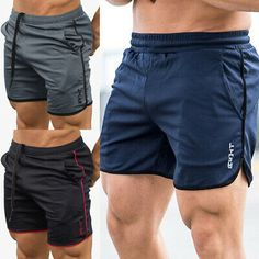 Men GYM Shorts Training Running Sports Workout Casual Jogging Pants Trousers New Mens Gym Shorts, Sport Shorts, Running Shorts, Workout Shorts, Gym Workouts, Athletic Shorts, Workout Gear, Slim Fit Polo Shirts, Running Training
