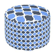 Moorish Arabesque (Cornflower and Black) Invite The Casbah into your home where you can make beautiful music w/o leaving your sofa! The design on this cushy round Pouf is borrowed from a 15th Century tile design made by the Moors living in Algeria (home of 'The Casbah'). Shown in cornflower blue and black. See coordinating Products @ www.zazzle.com/icondoit+casbah+gifts?rf=238155573613991097&tc=pnt #islamicpatterns #moorishpatternsonpoufs #moroccantilepatternpoufs