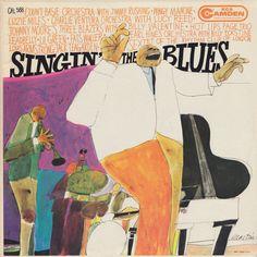 Singin' the Blues, Label: Camden CAL 588 Design: David Stone Martin Lp Cover, Vinyl Cover, Cover Art, Cool Album Covers, Music Album Covers, David Stone, Pink Drawing, Jazz Poster, Pochette Album