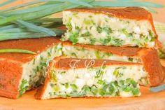 Наливной пирог с яйцом и зеленым луком