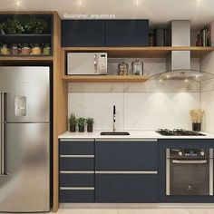31 The Best Small Apartment Kitchen Design Ideas - When doing a small kitchen design for an apartment, either a corridor kitchen design or a line layout design will be best to optimize the workflow. Kitchen Room Design, Modern Kitchen Design, Home Decor Kitchen, Interior Design Kitchen, Kitchen Furniture, Home Kitchens, Kitchen Ideas, Modern Kitchens, Ikea Kitchen Remodel