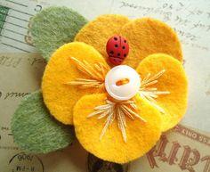 Purple flower pin yellow flower pin felt flower felt pansy brooch yellow felt flower pin golden yellow pansy by lizabethdezigns mightylinksfo
