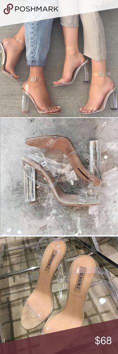 Kim kardashian yeezy clear lucite nude heels New size 9 Clear Heels Shoes Sandals