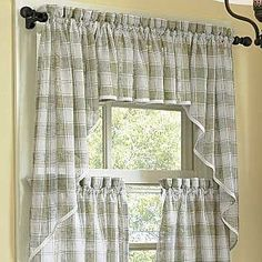 curtains and valances Country Kitchen Curtains, Kitchen Window Curtains, Kitchen Window Treatments, Home Curtains, Shabby Chic Kitchen, Valance Curtains, Country Valances, Window Valances, Elegant Curtains