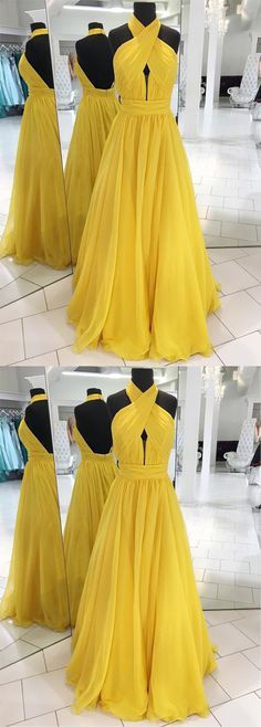Yellow Prom Dresses, Long Prom Dresses, 2018 Prom Dresses For Teens, Chiffon Prom Dresses Halter, Princess Prom Dresses Sashes / Ribbons Modest- Tap the link now to see our super collection of accessories made just for you! Senior Prom Dresses, Prom Dresses For Teens, Unique Prom Dresses, A Line Prom Dresses, Trendy Dresses, Sexy Dresses, Evening Dresses, Formal Dresses, Dress Prom