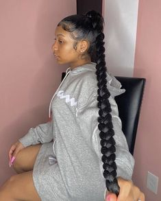 Feed In Braids Hairstyles, Black Girl Braided Hairstyles, Braided Ponytail Hairstyles, Baddie Hairstyles, Elegant Hairstyles, Pretty Hairstyles, Hairstyle Ideas, Hair Ponytail Styles, Sleek Ponytail