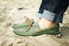 green boat shoes.