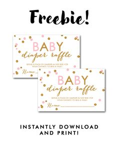 DIY Free Baby Shower Printable White Blush Pink Gold Glitter Confetti    Insert Diaper Raffle Ticket