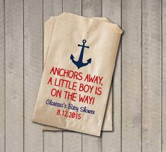 """These nautical """"Anchors Away a Little Boy is on the Way"""" favor bags will be a cute addition your baby shower celebrating a sweet new baby boy. Sold in sets of 20. They're perfect for your candy buffet"""