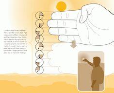 Hoelang is het nog licht? Je meet het gewoon met je handen! Superhandig vinden wij.