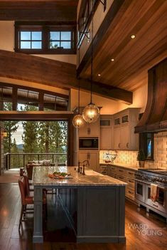 Love the warmth of this cabinesque home