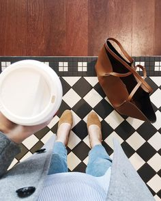 Coffee + shoes + monochrome tiles | onlinestylist on Instagram |