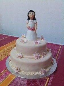 tarta muñeca primera comunion