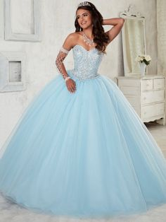 Beaded Strapless Dress by House of Wu Fiesta Gowns Style 56298 – ABC Fashion Sweet 15 Dresses, Pretty Dresses, Beautiful Dresses, Pretty Quinceanera Dresses, Quinceanera Party, Quincenera Dresses Blue, Ball Gown Dresses, Strapless Dress, Pageant Dresses