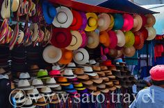 A colorful selection of Panama hats