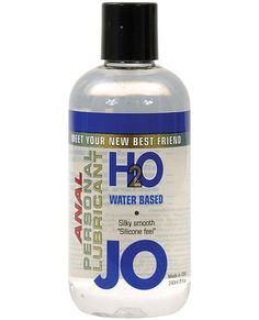 System Jo Anal H2o Lubricant 8 Oz Meet Jo, the new addition to your relationship! System Jo Anal Personal Lubricant is latex safe. The lubricant comes in an 8-ounce bottle with push top lid. Jo is formulated to last long and never leave a sticky feeling behind. With U.S. FDA regulations backing Jo, you know it is safe. Slide into something amazing!