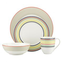kate spade new york Hopscotch Drive™ Porcelain Dinnerware Set in Taupe Square Dinnerware Set, Dinnerware Sets, Casual Dinnerware, Porcelain Dinnerware, Hopscotch, Cereal Bowls, White Porcelain, Dinner Plates, Yorkie