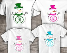 Personalized Christmas family t-shirts, Mom, Dad, kids set of 4 Gifts under 75, snowman gift ideas for Holiday family gathering thanksgiving