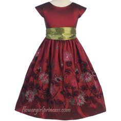 http://childrensdressshop.com/home/836-burgundy-taffeta-holiday-dress.html  dark red burgundy embroidered garden flowers girls dress