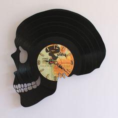 Handcarved Skull vinyl record clock, record clock, vinyl art clock, vinyl wall…