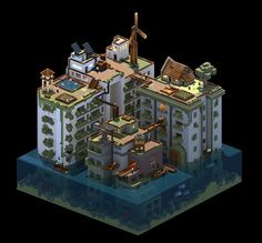 Post apocalyptic world made with magicavoxel by @Noxbird - voxels, voxelart