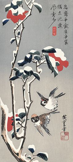 雪中椿に雀|歌川広重|広重花鳥大短冊撰|浮世絵のアダチ版画オンラインストア (Sparrow on camellia in snow | Utagawa Hiroshige | Hiroshige Flower bird bulletin book | Ukiyoe's Adachi print shop online store)