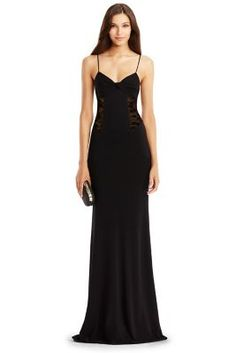 DVF Femme Fatale Wool and Lace Gown in Black