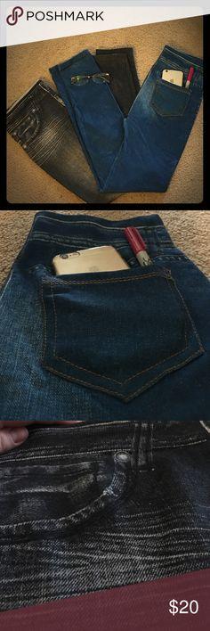 """Jeans"" Leggings bundle Like new each worn once 🌸 one blue pair and one black pair 🤘Fleece lined leggings that look exactly like jeans 😍 Pants Leggings"