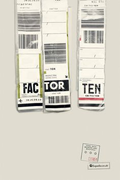 A brilliant ad campaign from the Ogilvy Group in the UK for Expedia using the ubiquitous used luggage tags. via It's Nice that Creative Advertising, Print Advertising, Advertising Campaign, Print Ads, Advertising Ideas, Fukuoka, Airport Luggage, Copy Ads, Ogilvy Mather