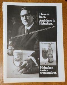 Vintage 1970 Heineken beer tastes tremendous special dark original print Ad bar