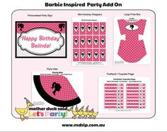 Barbie Birthday Party Add on Printable Pack