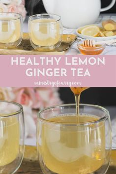 Homemade lemon ginger tea is a soothing infusion of fresh ginger and lemon, lightly sweetened with honey. This healthy detox tea without tea leaves makes a perfect caffeine free drink for children as well as grownups with many health benefits. Ginger Lemon Honey Tea, Lemon Ginger Tea Benefits, Lemon Ginger Detox Water, Ginger Drink, Lemon Drink, Fresh Ginger, Ginger Tea Recipes, Coffee Recipes, Homemade Ginger Tea