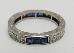 ESTATE Eternity Platinum ART DECO Diamond Sapphire Channel Set Wedding Band Ring | eBay
