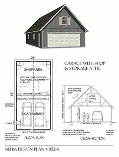 Oversized 2 Car Steep roof Garage Plan with One Story 1152-4